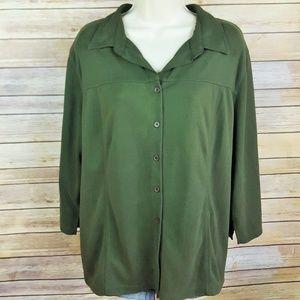 Kathy Ireland  dark green 3/4 sleeve button front